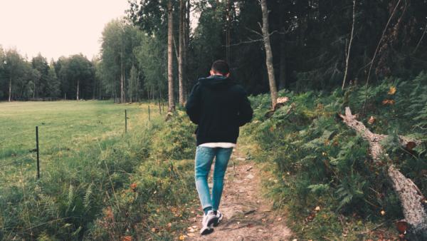 walking outdoors
