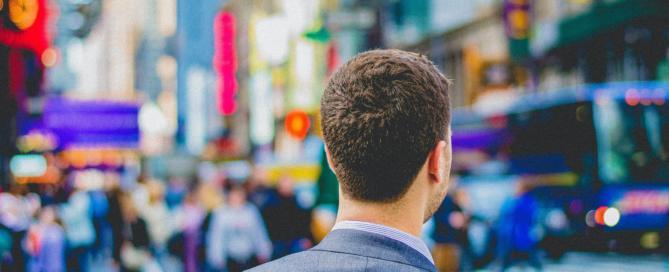 person in city